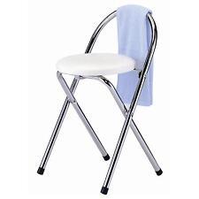 Tabouret pliable siège pliant rembourré blanc structure métallique chromée
