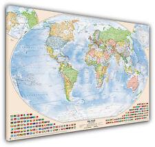 Politische Weltkarte, 200x130 cm, deutsch, Leinwand-Druck