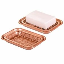 mDesign Kitchen Soap Dish Tray - Drainage Grid & Holder, 2 Pack - Copper