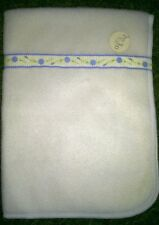 Dolls Cream Fleece Blanket with Blue Daisy Ribbon Detail ~ Ideal for Baby Dolls