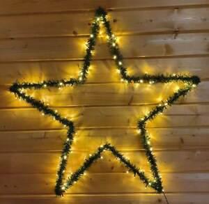 *B-Ware* 35189 LED Stern Metall Tannengrün zum Aufhängen 100 ww LEDs 60 cm IP44