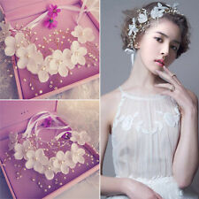 White Flowers Pearl Garland Bridal Wedding Crown Tiara Hair Headdress Headband