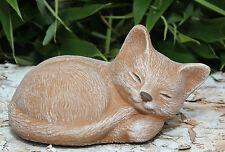 sculpture de Pierre CHAT DORMANT petites terre cuite statue d'ornement de jardin