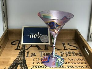 "Lolita ""Birthday Girl"" 7 oz. Hand Painted Martini Glass w/Recipe Plus 8 NoteCard"