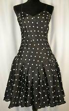New Louis Feraud Dress Size 6 Spaghetti Strap Black Polka Dots Silk Party Flare