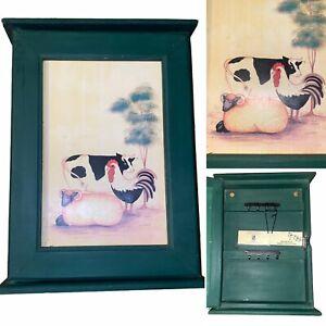 Top Table Green Wooden Farm Animals Design Key Cabinet Cupboard Holder Storage