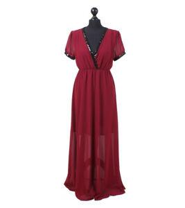 Italian Sequin Embellished Full Length Dress Wine Red