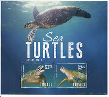 Tuvalu 2014 MNH Sea Turtles 2v S/S Fauna Marine Reptiles Chelonioidea