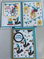 Stampin'Up! Birthday Cards (3) BONANZA BUDDIES, Lion, Tucan, & Koala Bear