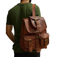 Mens Backpack Vintage Genuine Leather Hiking Rucksack Outdoor Holiday Brown Bag