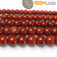 "Natural Red Brown Jasper Round Stone Loose Spacer Beads Jewellery Making 15"" CA"