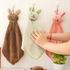 45cm MIni Rabbit Kitchen Bathroom Hanging Towel Coral Velvet Small Hand Towels