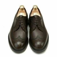 Men's Handmade Brogue wingtip Oxford dress Brown Lace up Leather shoes