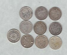 More details for 10 silver three pence dated 1885 to 1937 in good fine or better condition