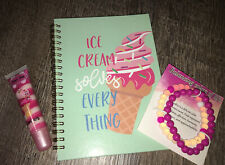 Claire's Ice Cream Sweet Treat Lipgloss Diary Notebook Bracelet Jewelry Lot