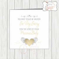 Sympathy Card Loss Of Your Baby Miscarriage Stillborn Sex Unknown, Heart & Wings