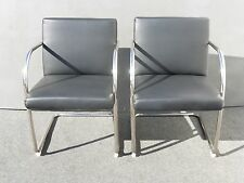 Pair of VintageStyle Black Vinyl & Chrome Tubular Accent CHAIRS BRNO Style
