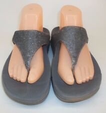 FitFlop Womens Sandals Athletic Flip Flops US 8 Gray Bling Thong Walking Shoes