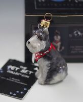 NIB JOY TO THE WORLD GRAY SCHNAUZER WITH BANDANA DOG GLASS ORNAMENT  POLAND