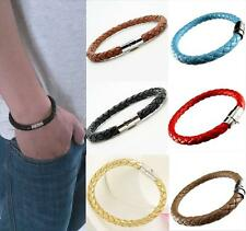 Valentine Gift Unisex Real Genuine Leather Braided Bracelet Wristband Men Ladies