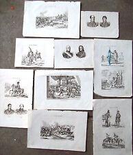 1836 INCISIONI SU GUERRE NAPOLEONICHE UNIFORMI SCENE DI GUERRA RITRATTI.....