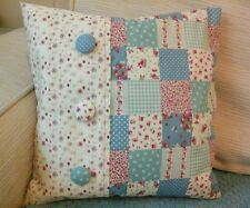 """*HANDMADE* BLUE DITSY FLORAL PATCHWORK SHABBY CHIC CUSHION COVER 14""""X14"""""""