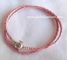 "NEW Authentic PANDORA Pink LEATHER/Silver Double Medium BRACELET 15""~38cm NEW"