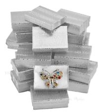 LOT OF 20 SILVER COTTON FILLED BOXES JEWELRY BOX EARRING GIFT BOXES STORE BOX