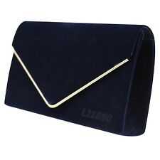 Womens HandBags Faux Suede Clutch Bag Envelope Metallic Frame Evening Bridal Bag