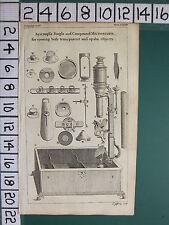 1754 Antique Imprimé ~ AYSCOUGH'S Simple & Composé Microscope Divers Apparatus