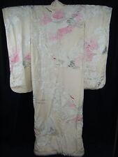 Vintage Japanese White/Ombre Pink Wedding Uchikake Kimono w/Peony & Cranes