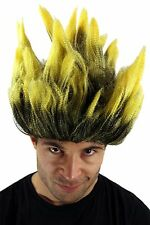 Perücke Fasching Dragonball Dämon Loki Mad Scientist Fan schwarz gelb Feuer NEU