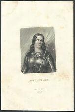 Holy card grabado antique de Santa Juana de Arco santino image pieuse estampa