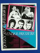 More details for queen and david bowie - under pressure lyrics - a4 poster advert 1980s original