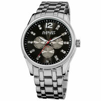 New Men's August Steiner AS8068SSB Crystal Markers Sunray Dial Bracelet Watch