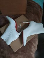 New CHRISTIAN LOUBOUTIN Size 8.5 SO KATE 85mm White Leather Booties Boots 39 Eur