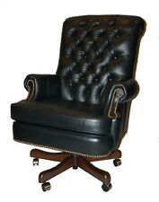 Fairfield Large Black Leather Executive Desk Chair with Gas Lift Made in U.S.A.