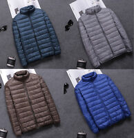 Mens Winter Ultralight Warm Puffer Duck Down Jackets Stand Collar Coats Zipper