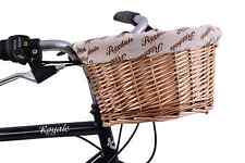 "Ryedale Traditional Front Willow Kid Bike Wicker Basket 10"" Fabric cover D-Shape"