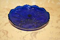 Vintage RARE Fenton Cobalt Blue Footed Glass Bowl - Embossed Holly & Stag Decor