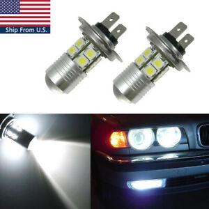 2X H7 White LED High Beam Daytime Running Light Bulbs For BMW E46 325i 328i 330i