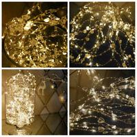 2m Christmas 6ft Large Luxury LED Pre- Lit Xmas Garland shabby chic warm white