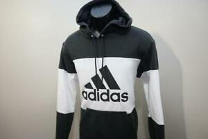 Adidas Hoodie Black White Cotton Blend Athletic Pullover Sweater Mens Size Small