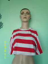 Cotton Short Sleeve Striped Cropped Tops & Shirts for Women