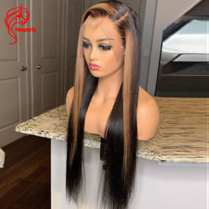 Side Part Lace Front Human Hair Wigs Highlight Blonde Brazilian Remy 13x4 Ombre