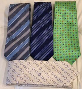 Lot of 4 Silk Ties Faberge, Hugo Boss, Tiffany & Co Different Colors Patterns