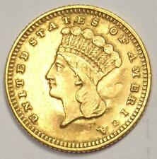 1871 Indian Gold Dollar Coin (G$1) - AU Details (Jewelry Damage) - Rare Date!
