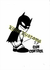 VINYL DECAL STICKER BATMAN PEEING ON GUN CONTROL...FUNNY.....CAR TRUCK WINDOW