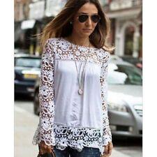 Ladies Hollow Flower Chiffon Lace Blouse Long Sleeve Tops Women Shirts 6XL GV