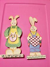 Wooden Mr Mrs Easter Bunny Decoration